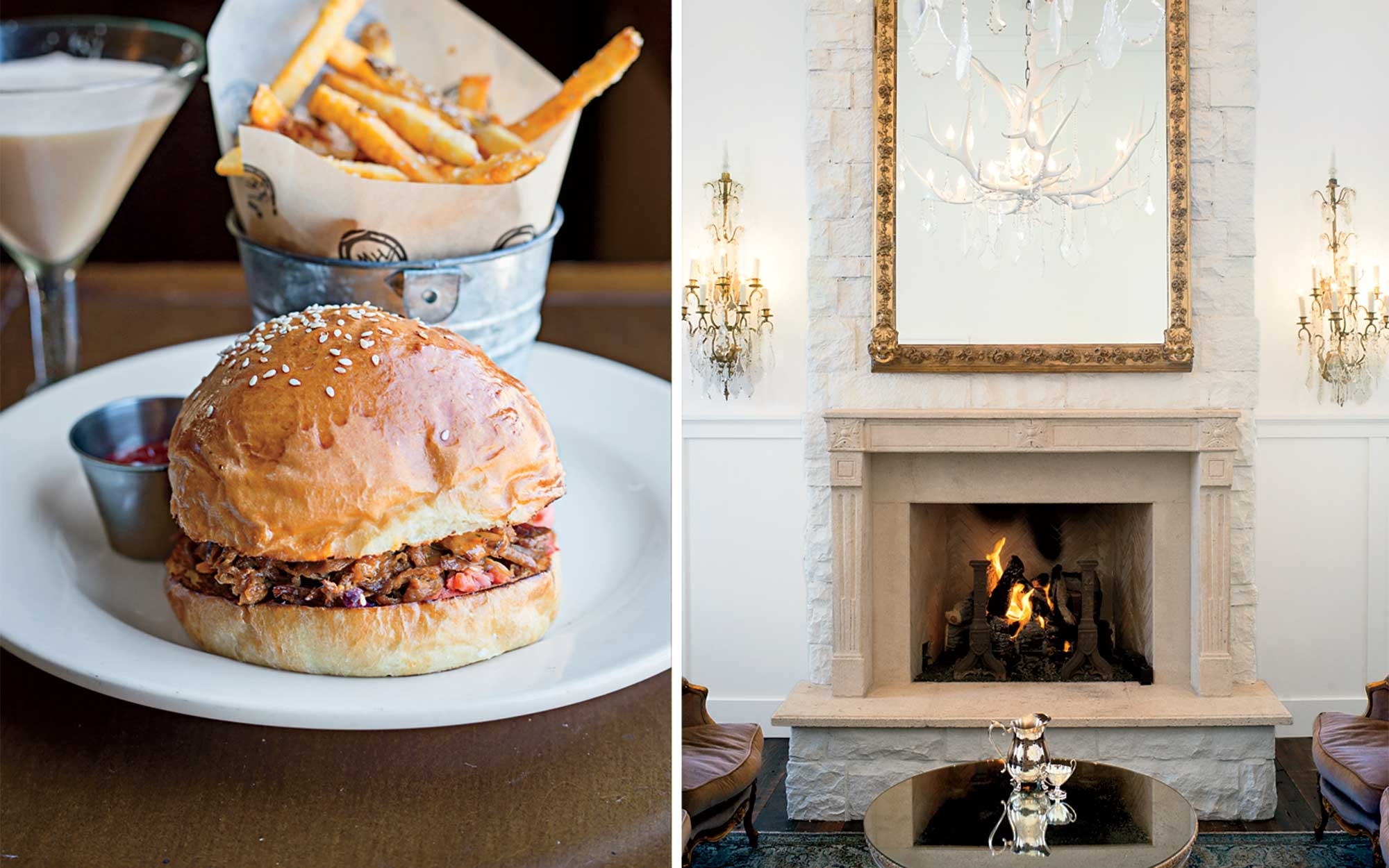 From left: a pulled-pork sandwich at High West Distillery; the lobby of Washington School House, a hotel in downtown Park City
