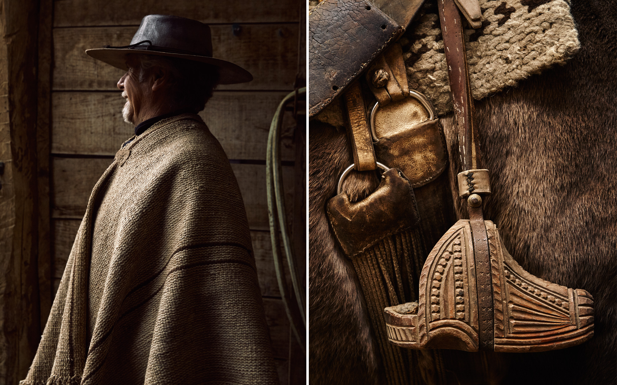 Rodolfo Coombs at his stable, near Vira Vira; An intricately carved traditional Chilean stirrup.
