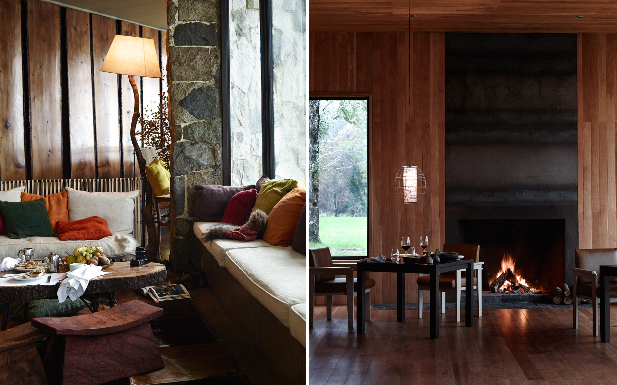 From left: In the lounge of Antumalal; The dining room at Vira Vira; the kitchen sources ingredients from the property's organic farm
