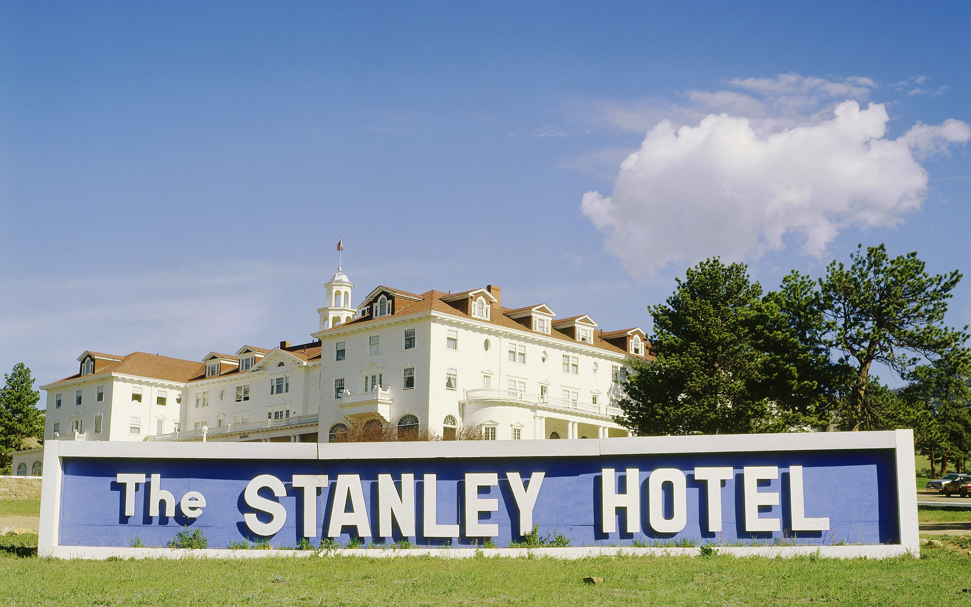 The sign in front of the Stanley Hotel