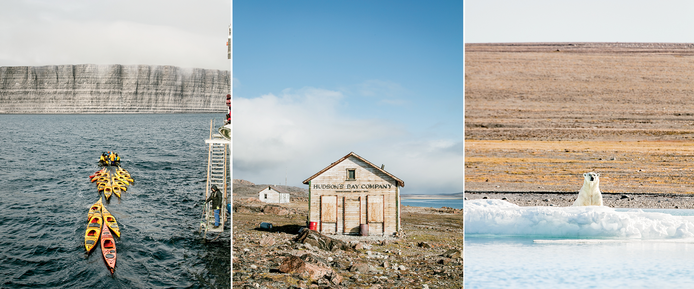 Sea kayaks near Prince Leopold Island; Fort Ross, an abandoned trading post in Nunavut; a polar bear in Coningham Bay.