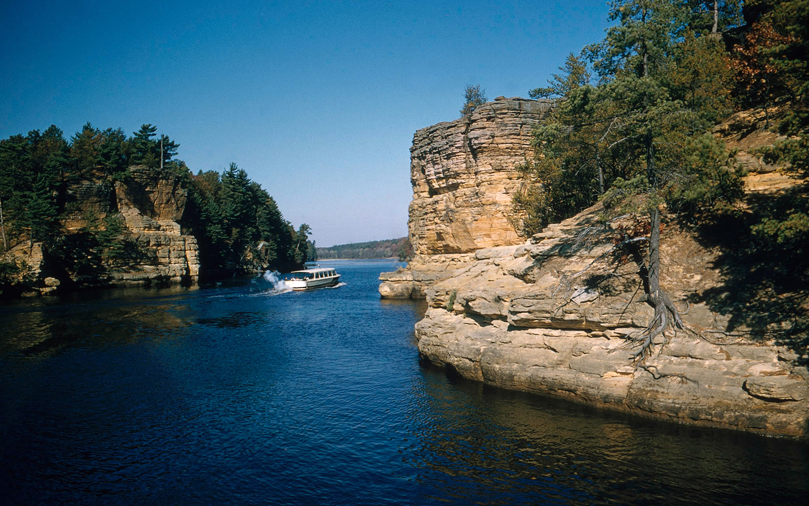 View of the dells, an area on the Wisconsin river noted for its unique sandstone rock formations.