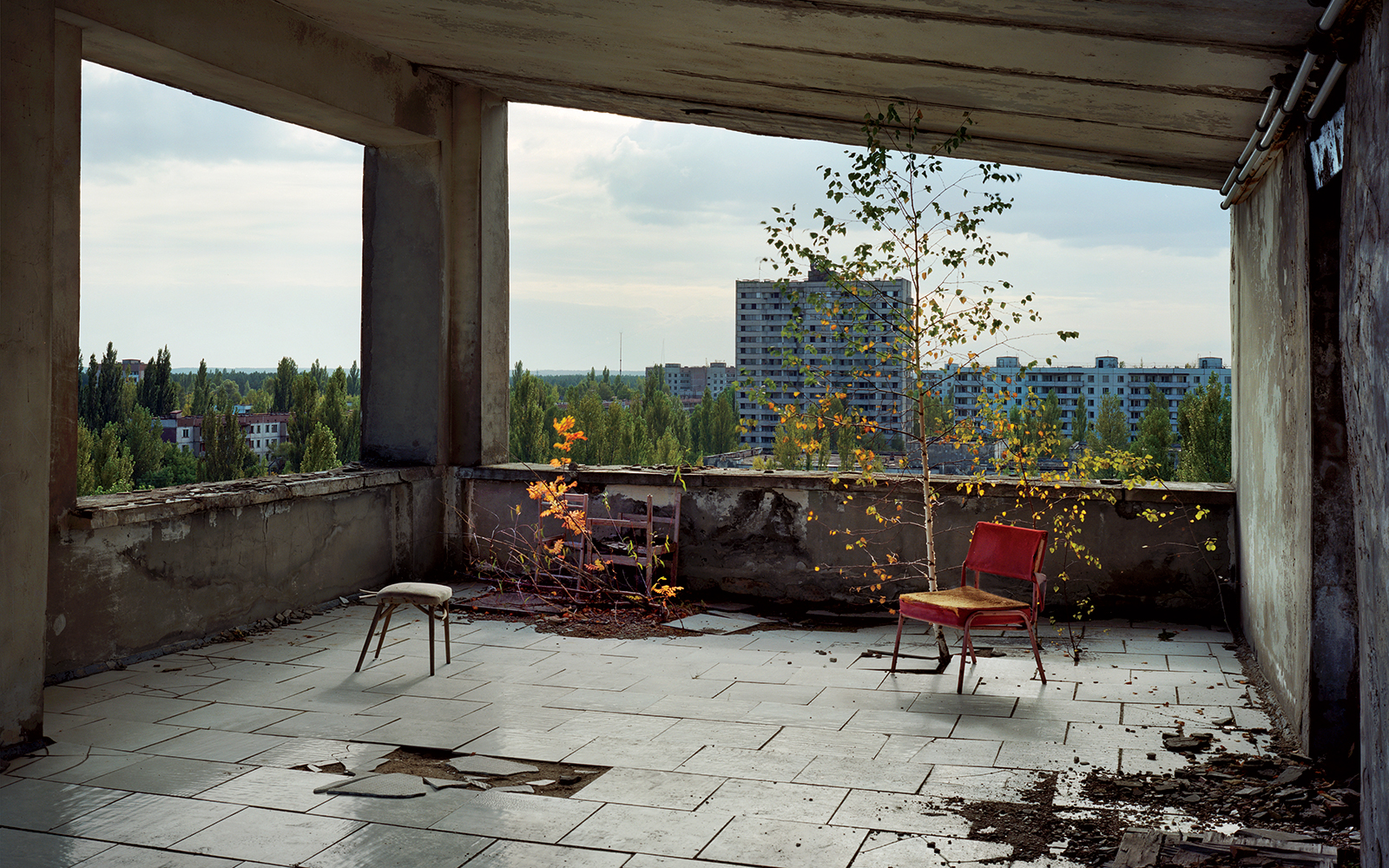The central town hotel  Polessye  or  Polyssia  in the empty ghost town of Pripyat. Chernobyl exclusion zone. Ukraine. 2008