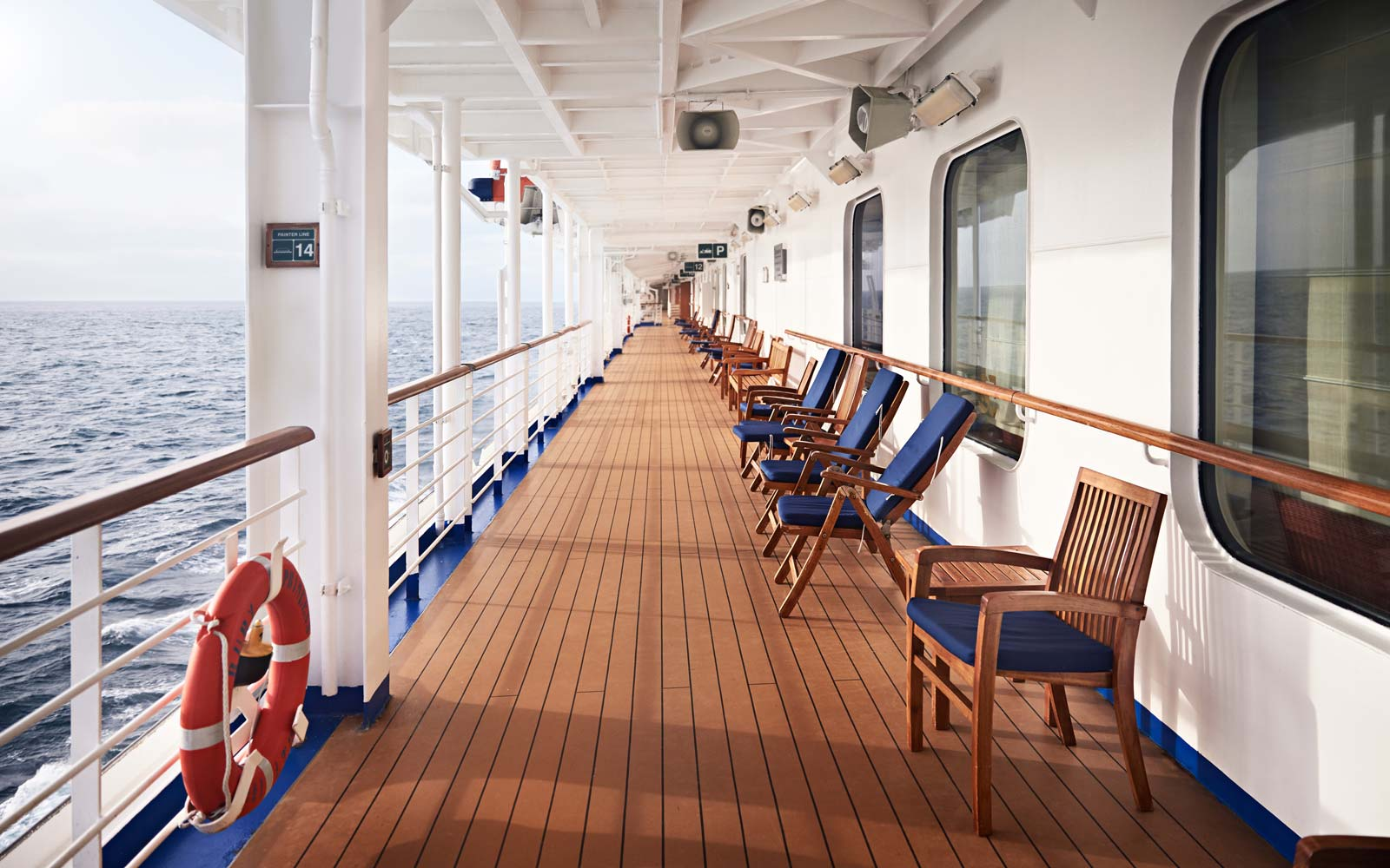 Chairs on ship's deck
