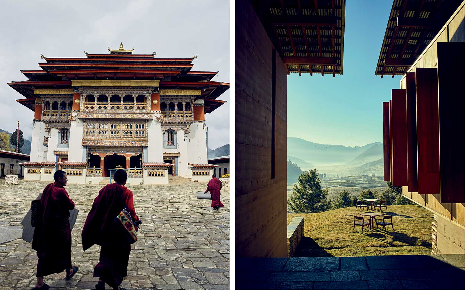 Gangtey Monastery and the new Amankora Gangtey, in Bhutan
