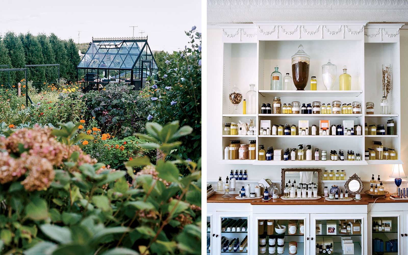 Castle Hill Inn greenhouse, and a beauty products shop, in Newport, Rhode Island.