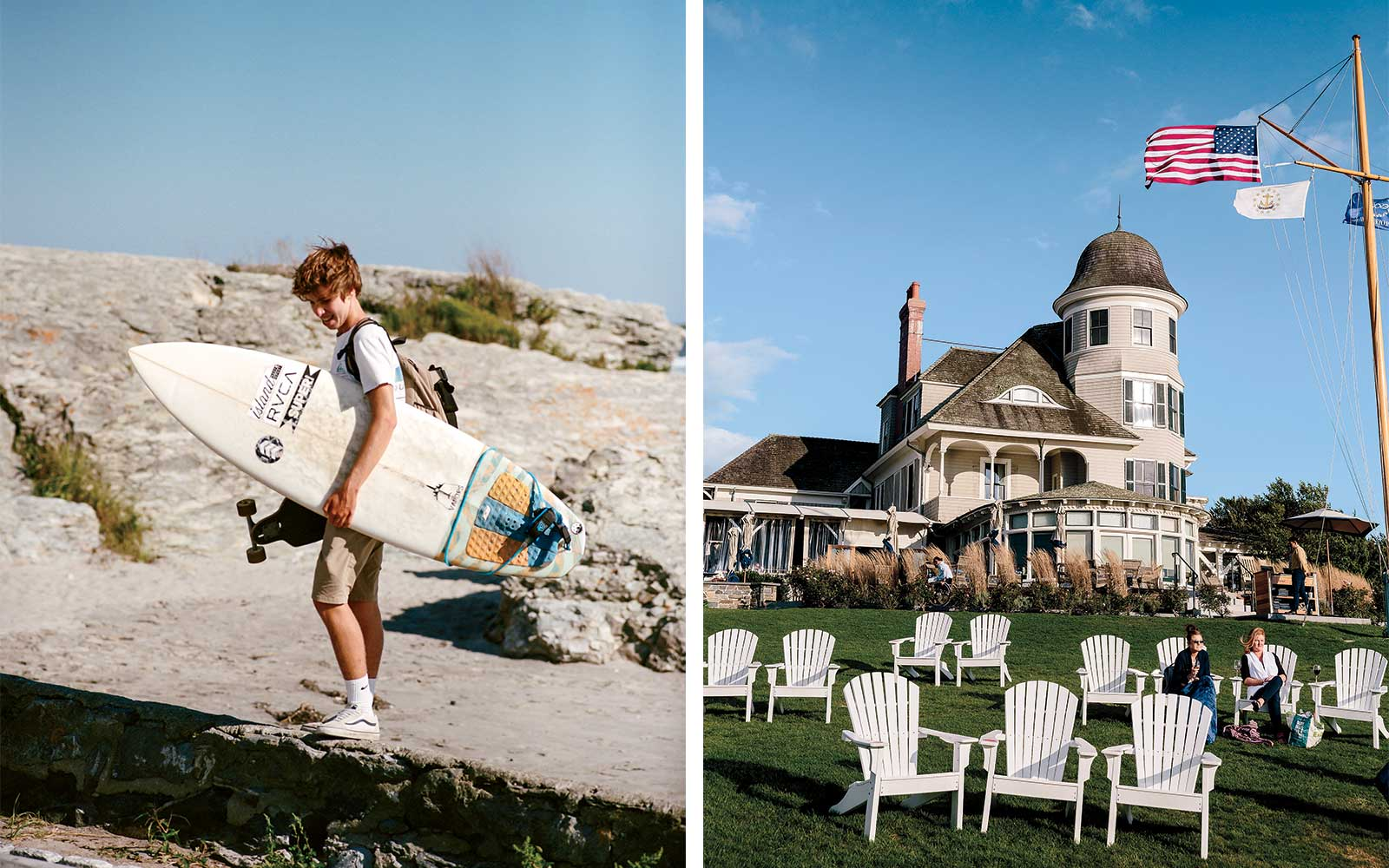 Surfer in Newport, Rhode Island; Castle Hill Inn estate