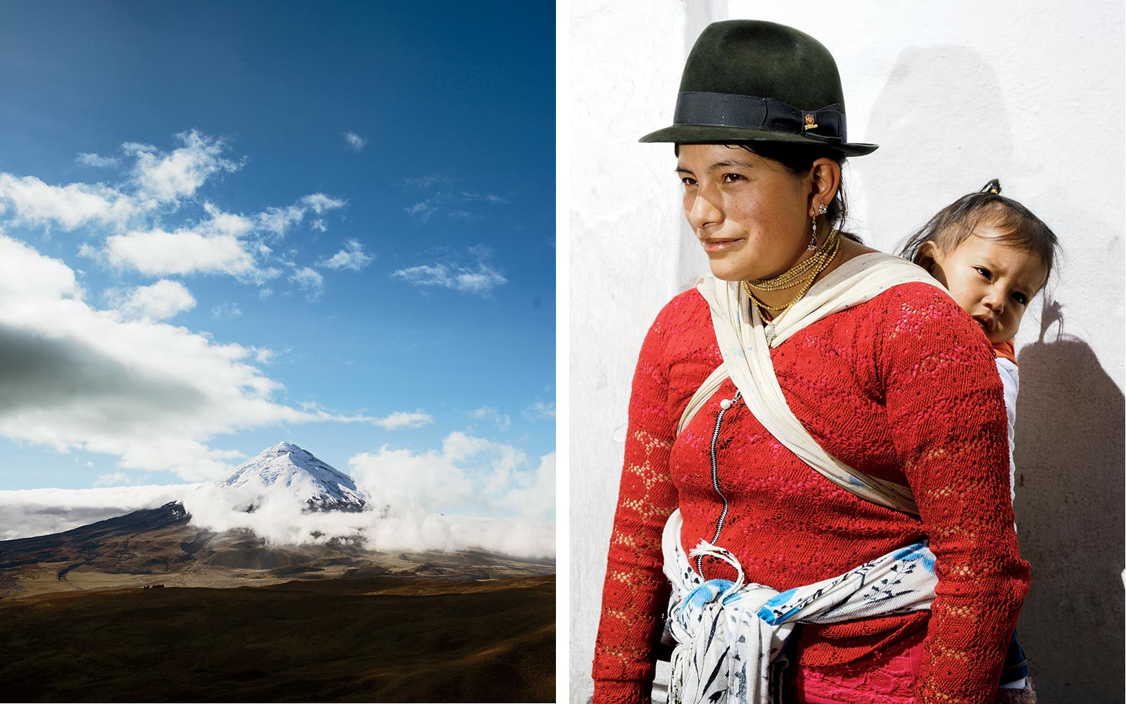 Cotopaxi volcano in Ecuador, and a Quechuan woman and child