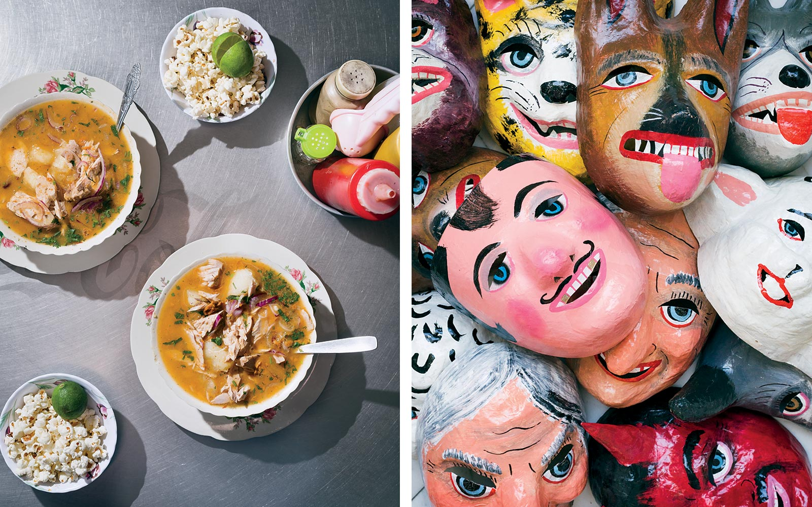 Traditional fish stew, and paper mache masks, in Ecuador