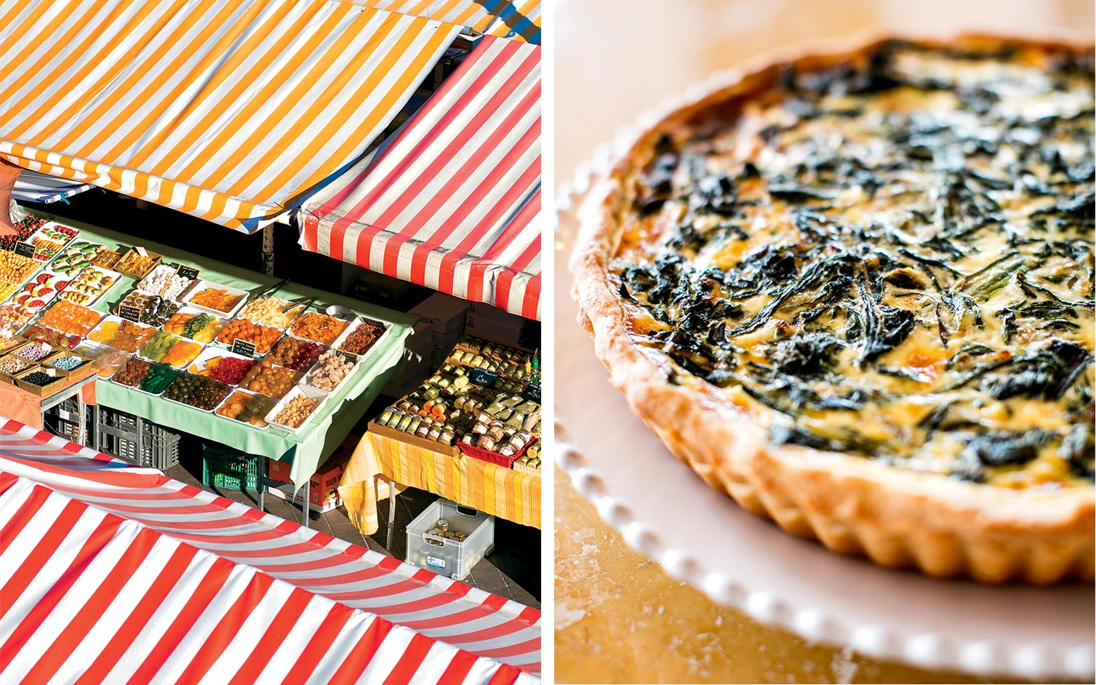 Colorful awnings at the Cours Saleya Market in Nice; a quiche made from local ingredients at Les Roches Rouges