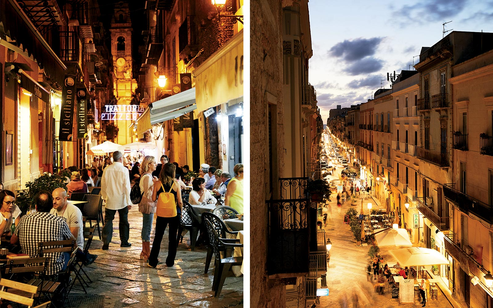 Night views of Palermo and Trapani, Sicily