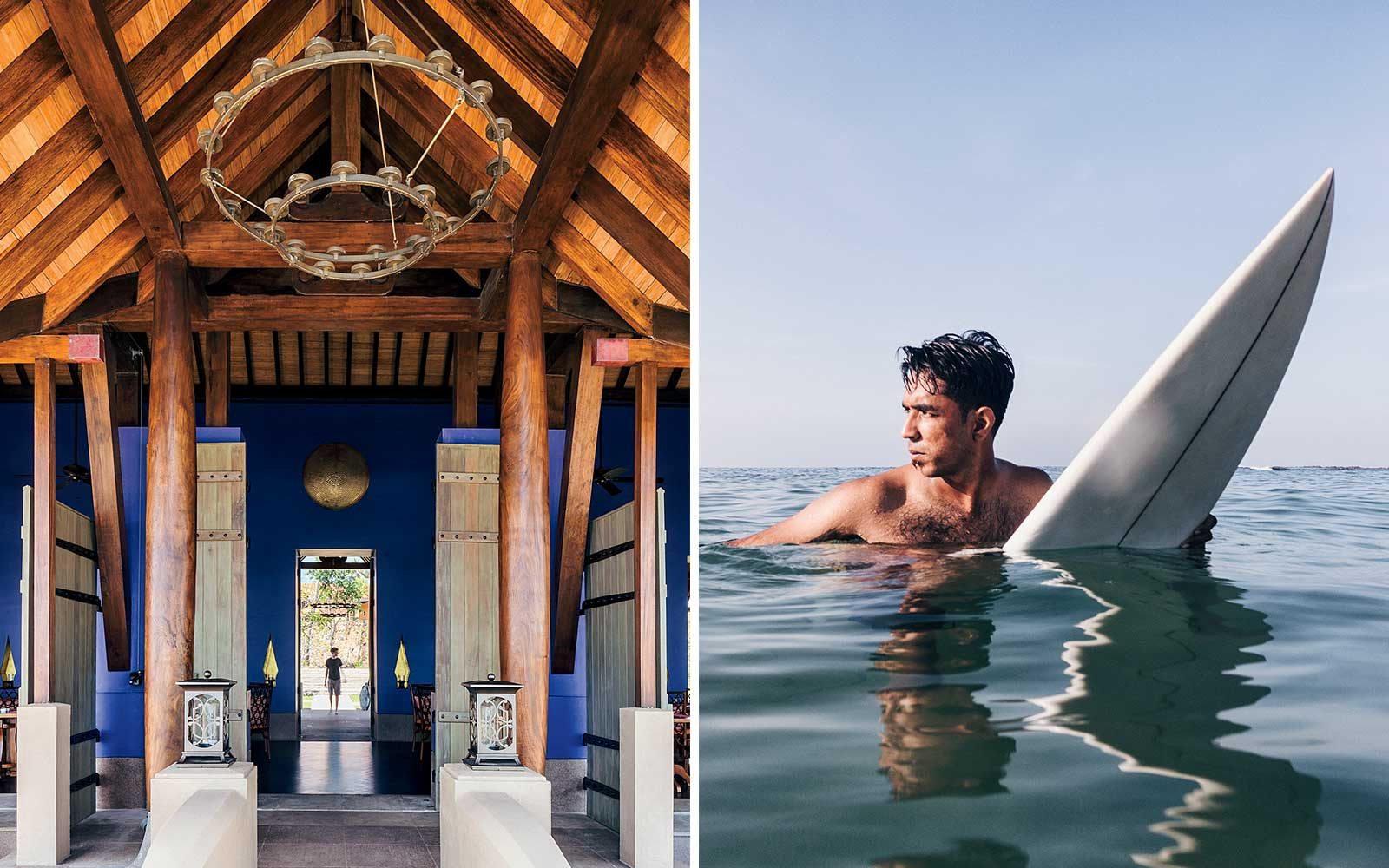 Cape Weligama and a local surfer, on Sri Lanka's south coast