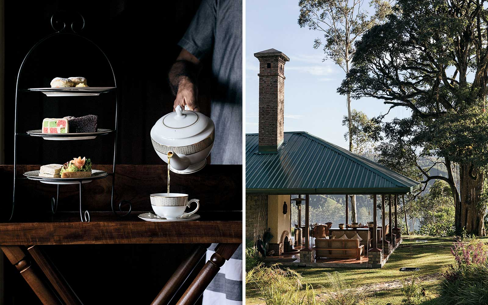Tea service at Ceylon Tea Trails, and Dunkeld Bungalow