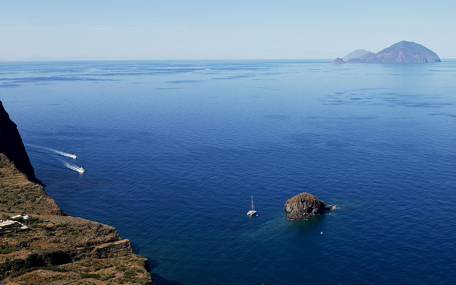 View of the Tyrrhenian Sea from the Aeolian Islands in Italy
