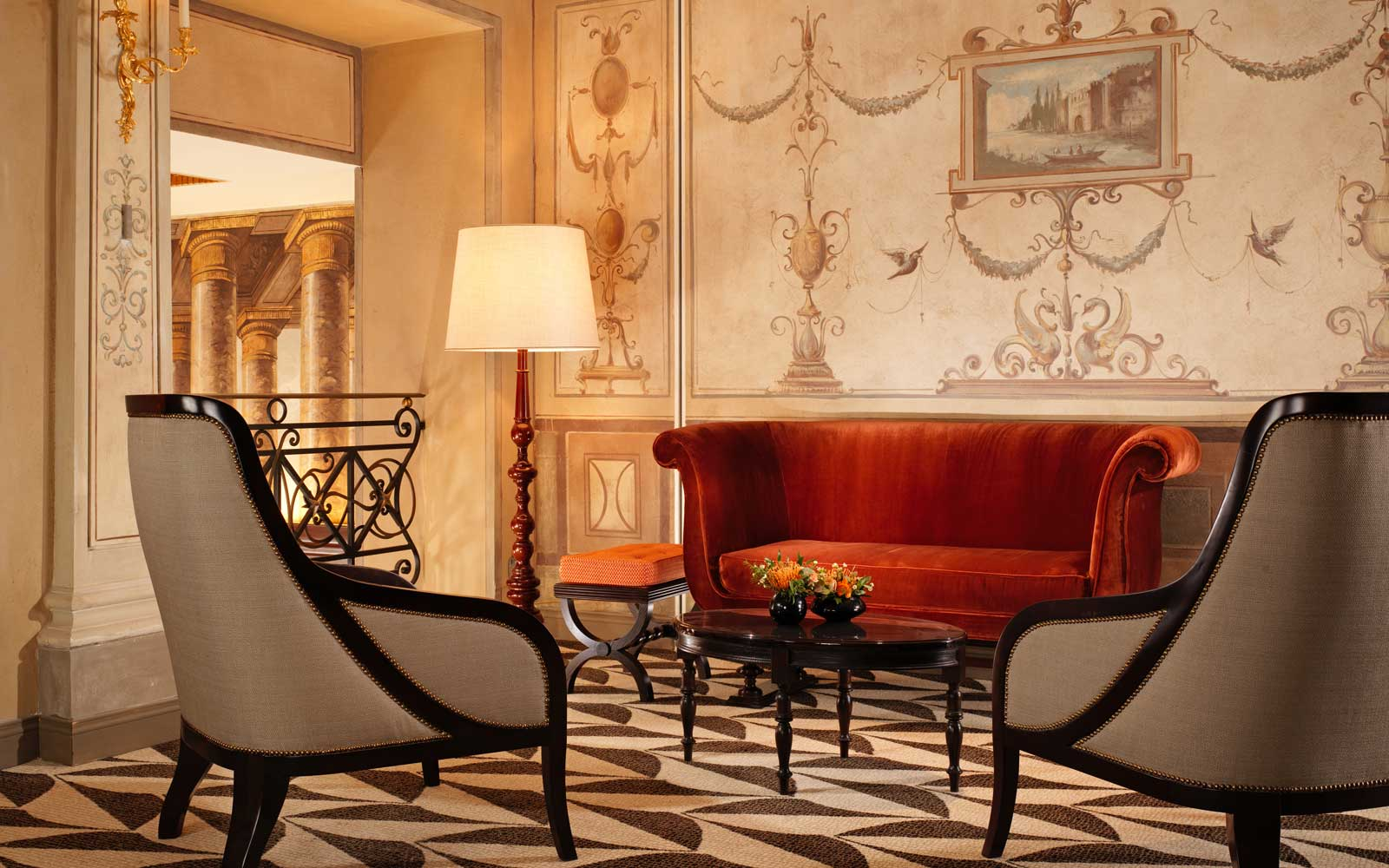Foyer at the Hotel Eded, in Rome, Italy