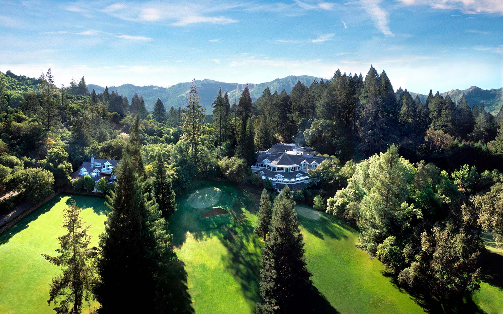 Aerial view of Meadowood, Napa Valley, California