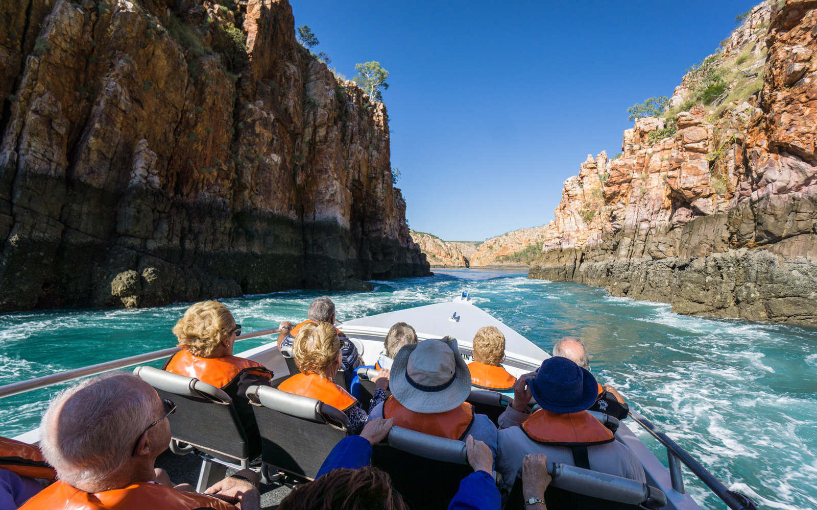 Tourists can take a tour through the Horizontal Falls on a multi-engined rigid inflatable boat.