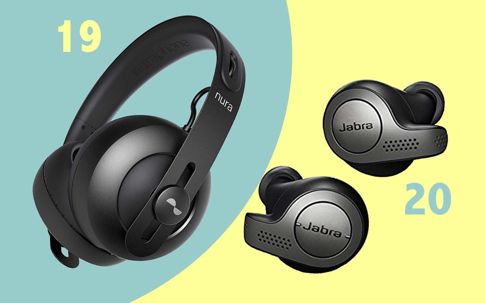 Noise Canceing headphones with microphone, from Jabra and Nuraphone