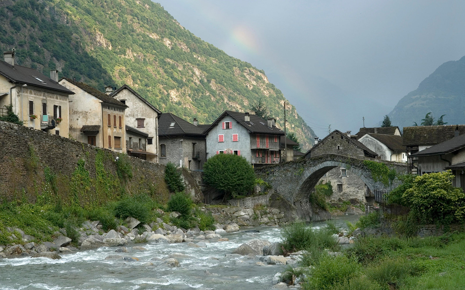 mountain town on the river in Giornico, Switzerland