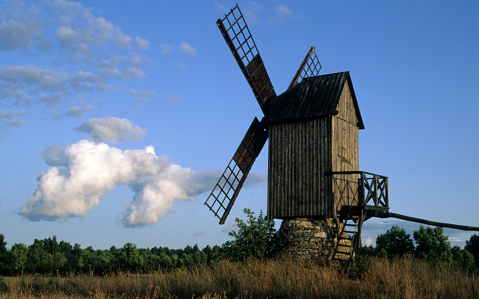 wooden windmill in Koguva, Estonia