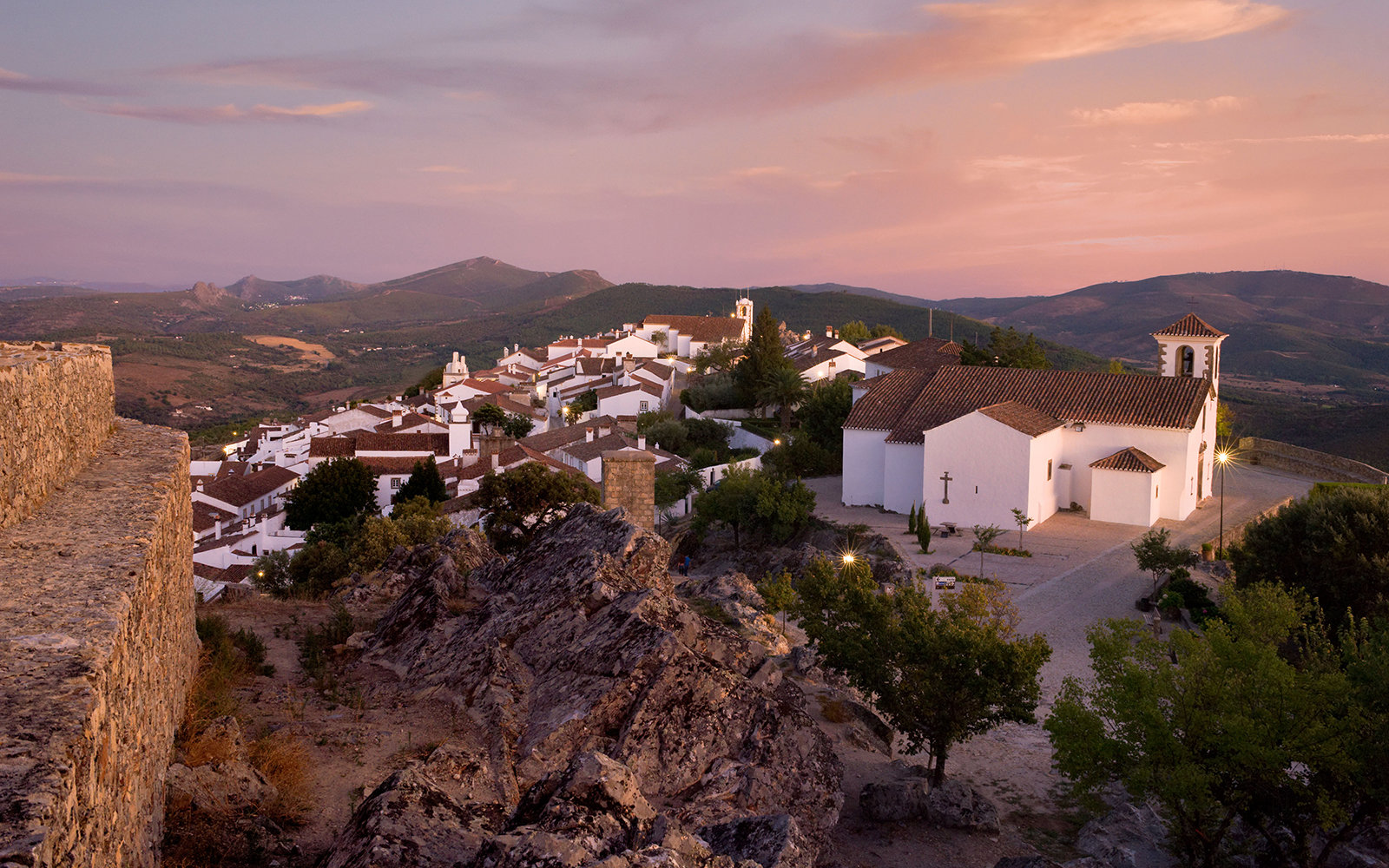 Portugal, the Alentejo, Marvao town at sunset