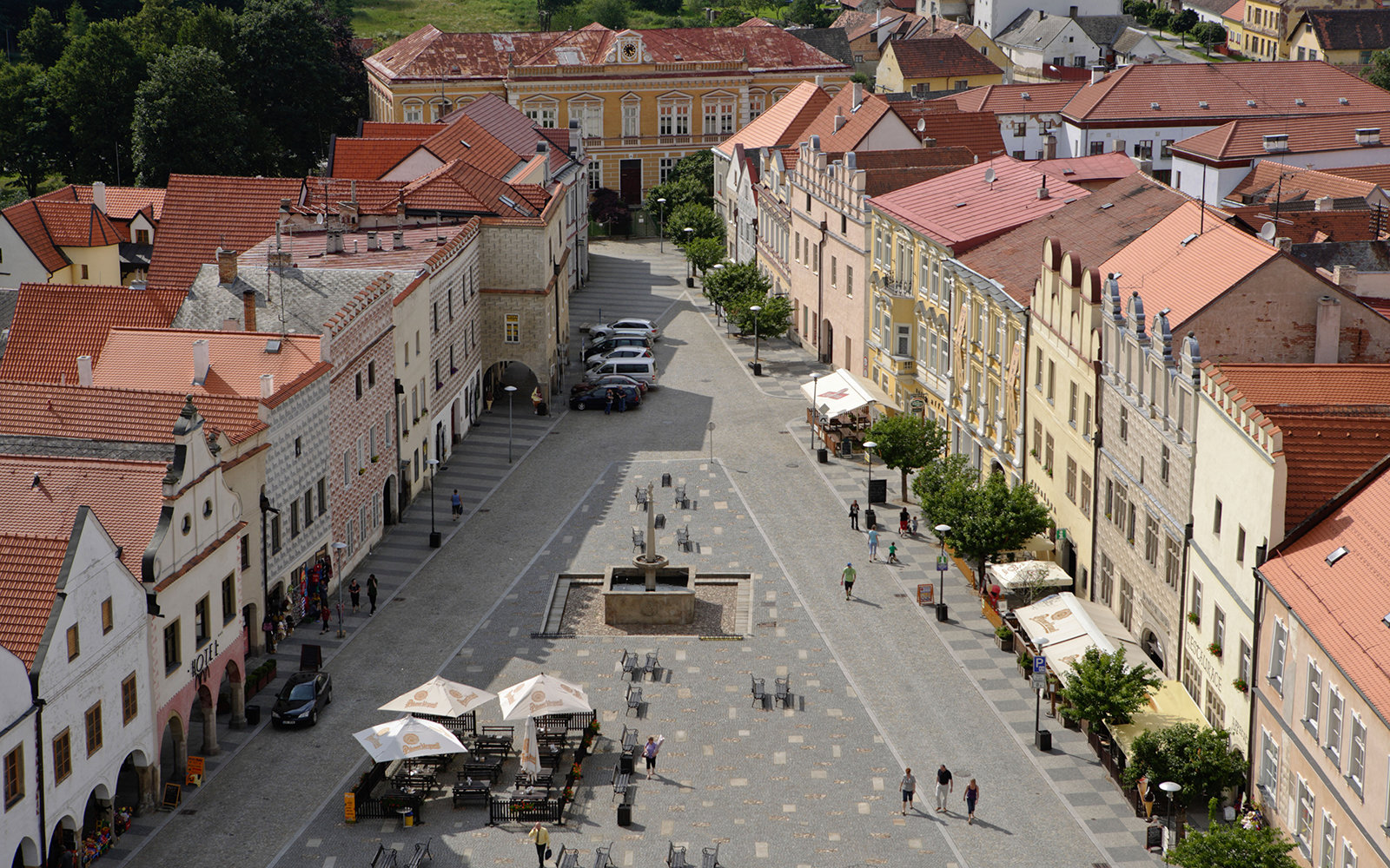 town square in Slavonice, Czech Republic