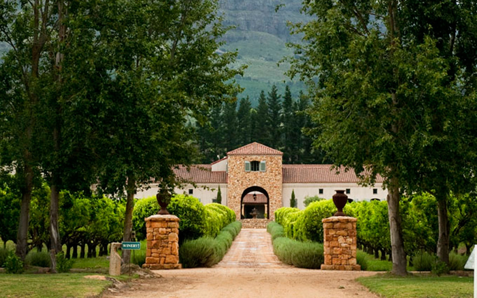 Waterford Estate's 120ha property is situated on the slopes of the beautiful Helderberg Mountain in the Stellenbosch region – the undisputed wine capital of South Africa.                                   Waterford Estate was designed by architect Alex Walker and created from quarried local bedrock, stones from the vineyard and timber grown on the estate. It was styled along the engaging terracotta design of the classic Bordeaux chateaus of France.                                    They have chosen to use only half of the total land for the planting of vines, in order to preserve and maintain the natural flora and fauna of the beautiful Blaauwklippen (blue stone) valley. As part of their biodiversity program, they wish to show visitors our intensions in terms of sustainable agriculture, since they are aiming to achieve an organic approach to wine farming.