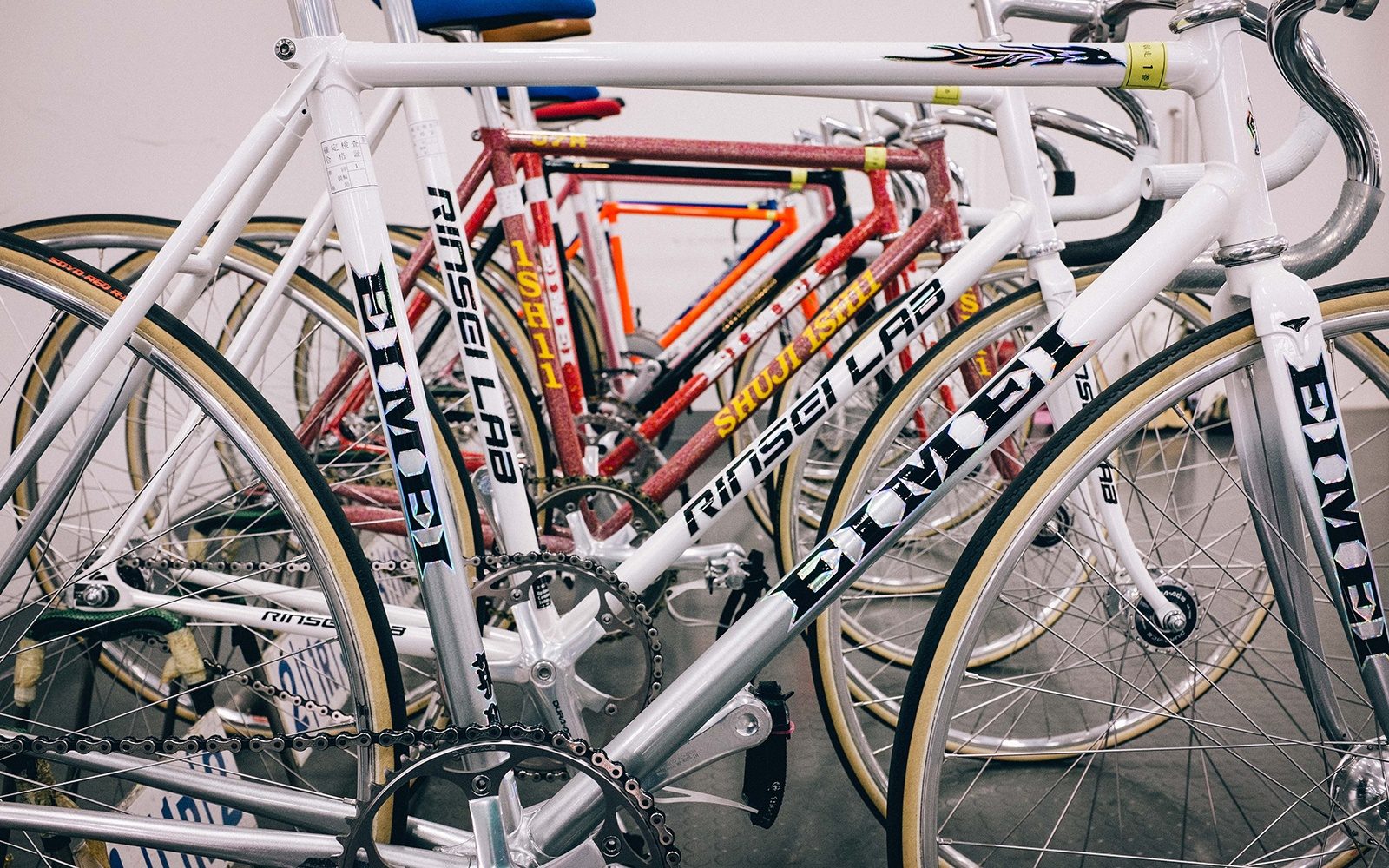 An array of keirin track bikes