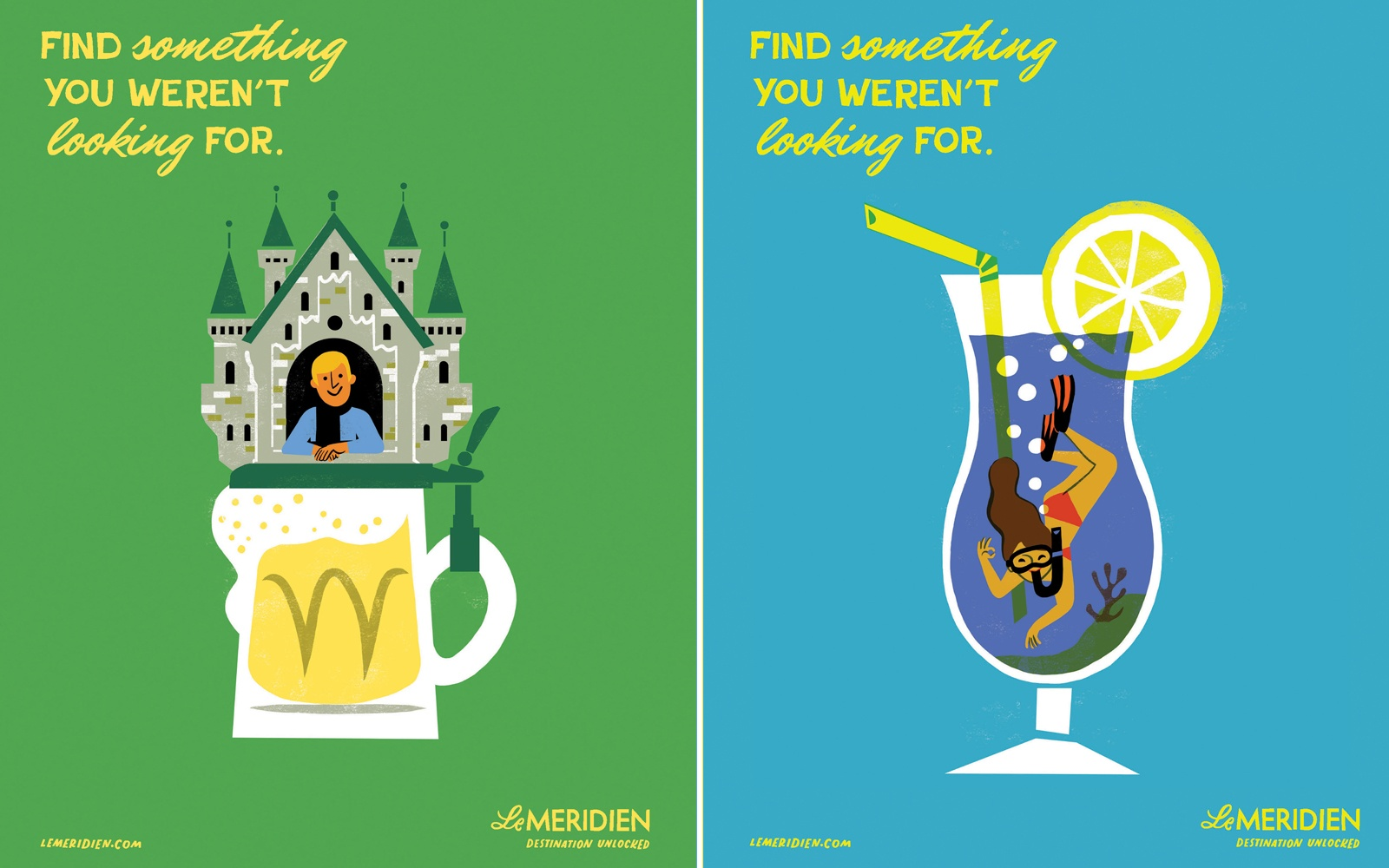 Le Méridien Channels Midcentury Illustrators with Bright New Ad Campaign