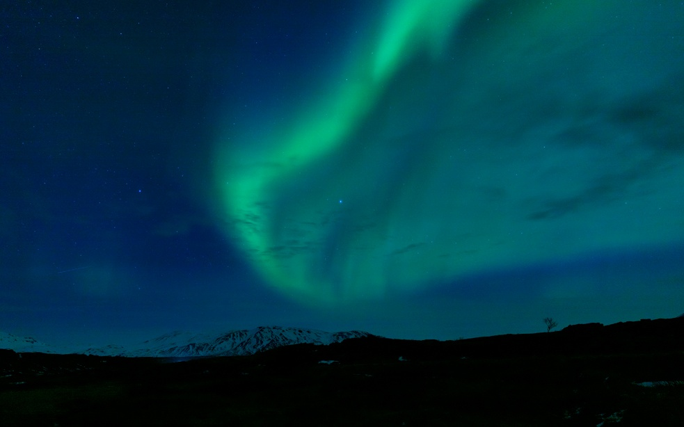 Northern lights above the Mt. Hekla volcano