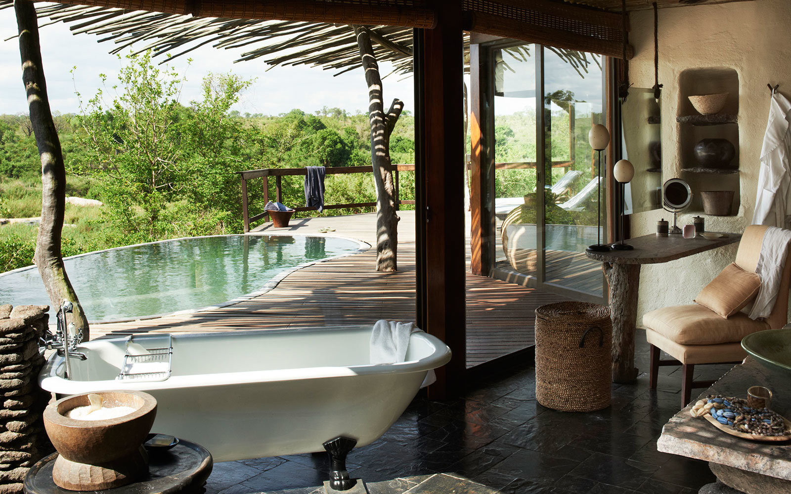 private terrace and pool at Singita Sabi Sand, Kruger National Park, South Africa