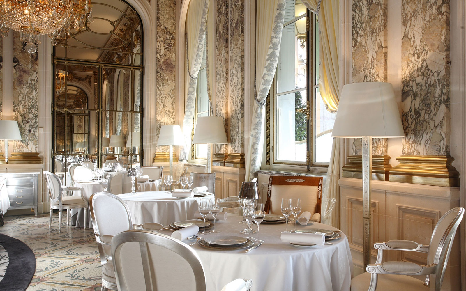 elegant guest dining room at Le Meurice, Paris, France