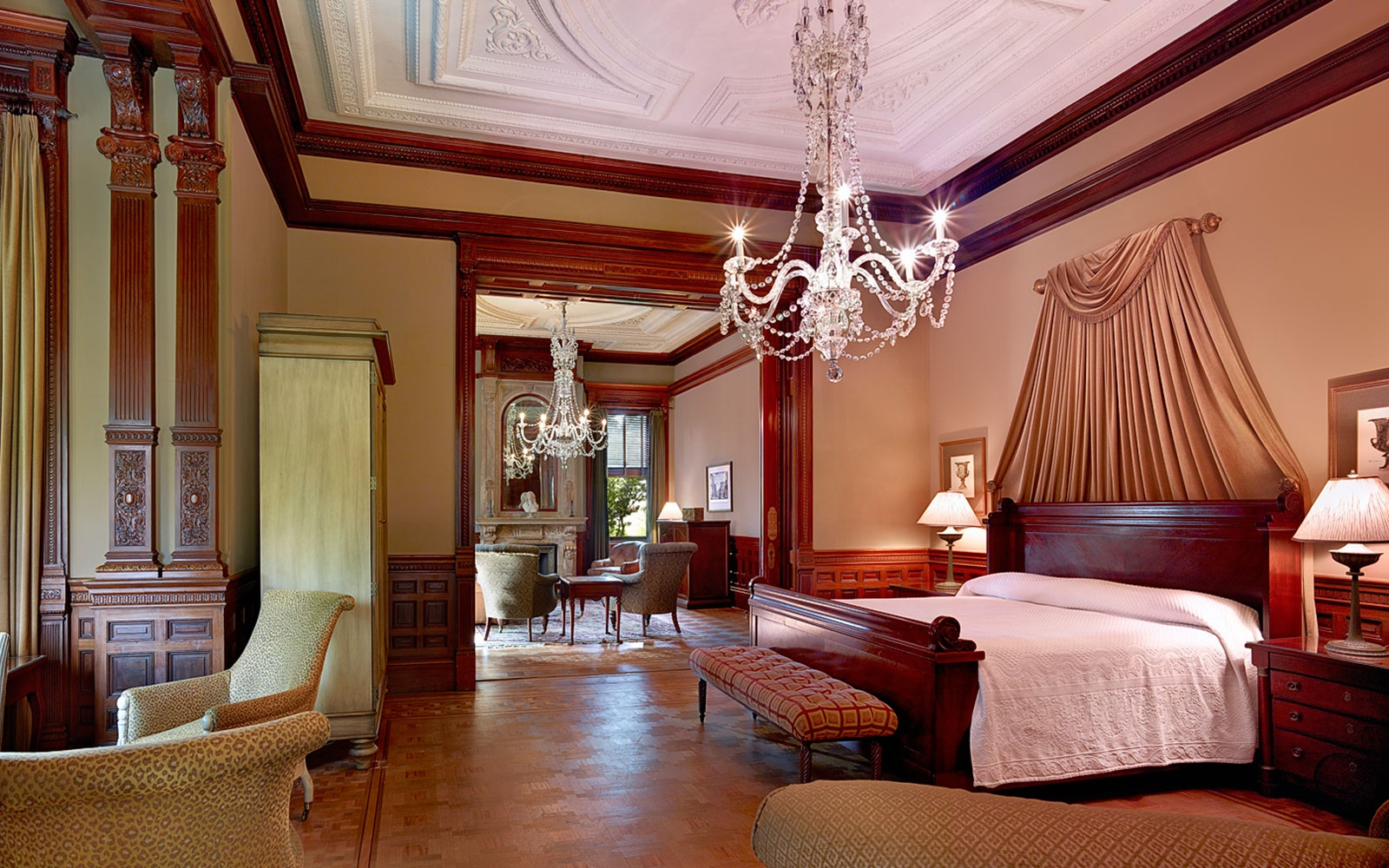elegant guest room at Wentworth Mansion in Charleston, SC