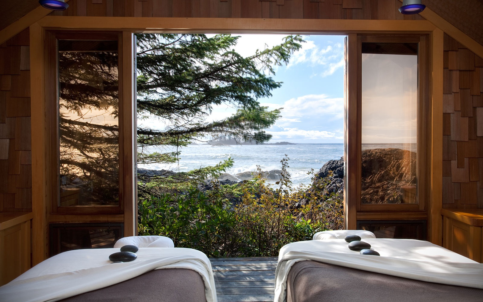 massage room overlooking the ocean at The Wickaninnish Inn, Tofino, BC