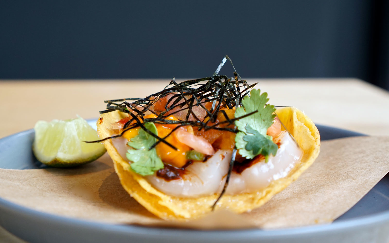 Scallop Uni Tostada at Chino Hong Kong