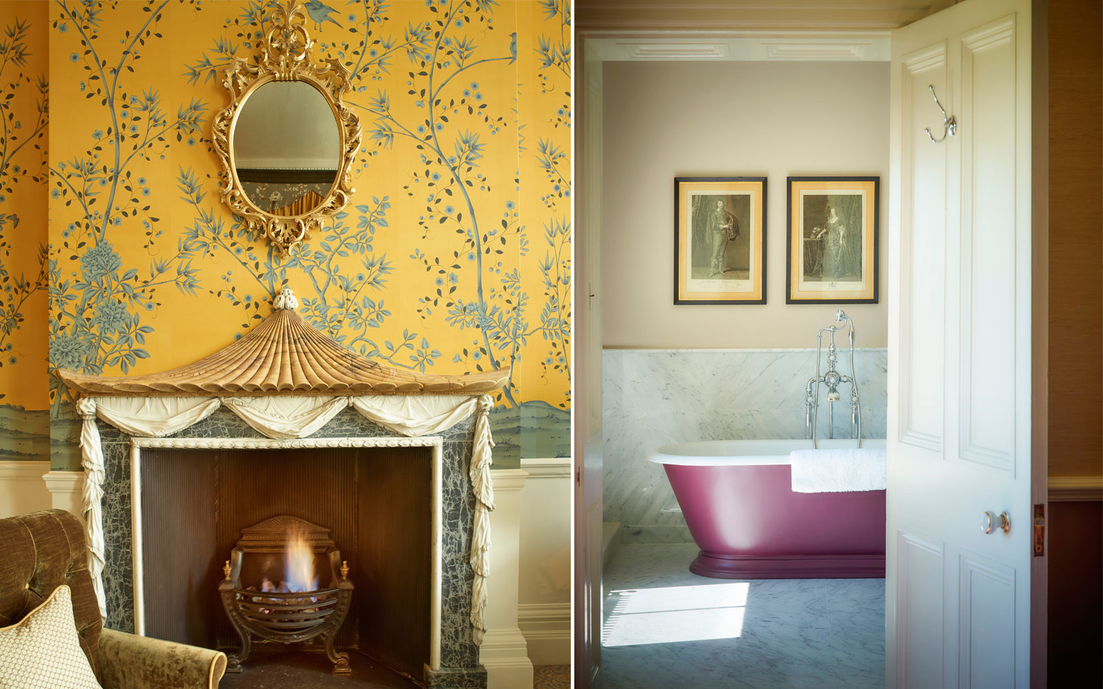 fireplace and bathroom at Cliveden House