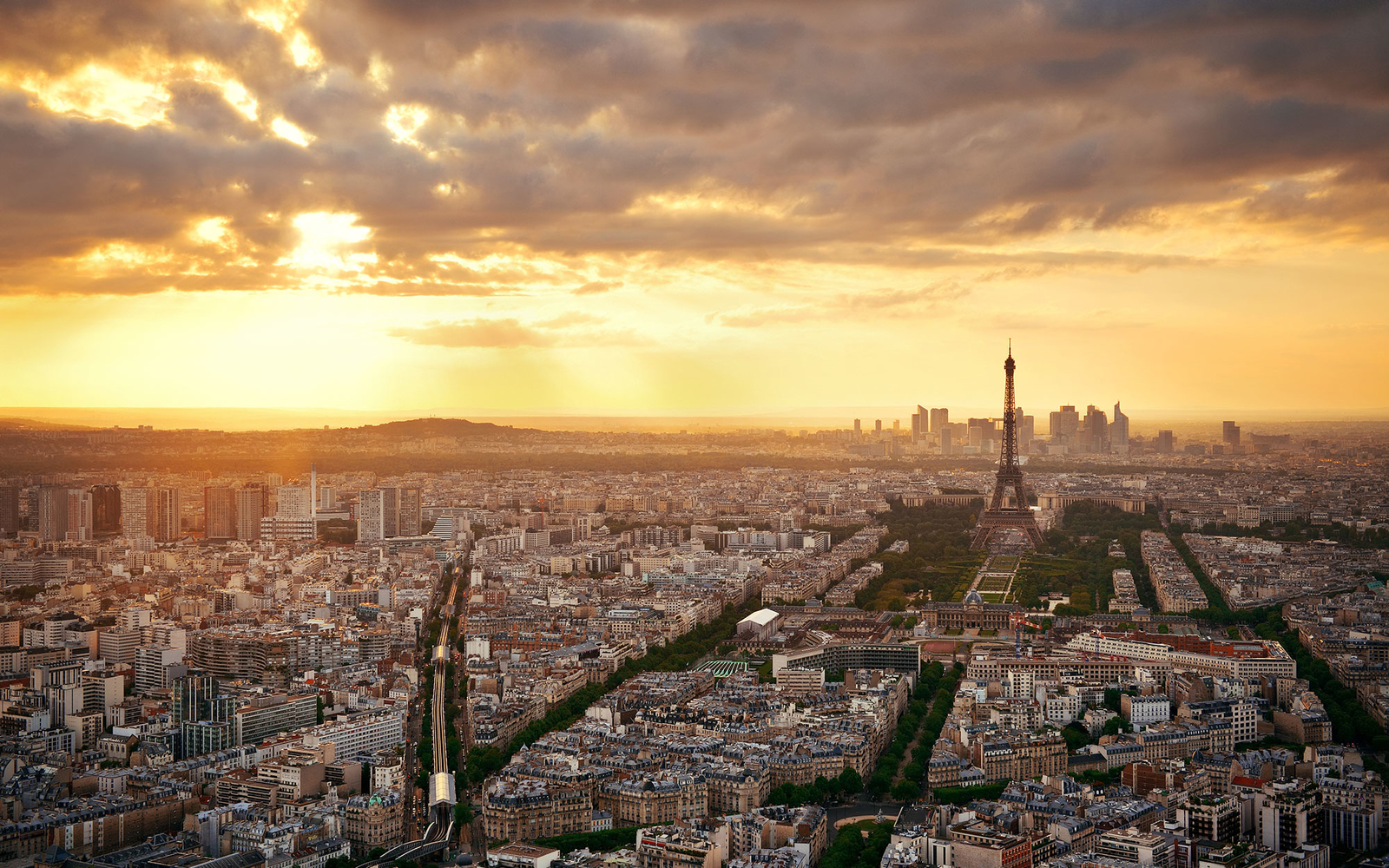 Paris sunset france
