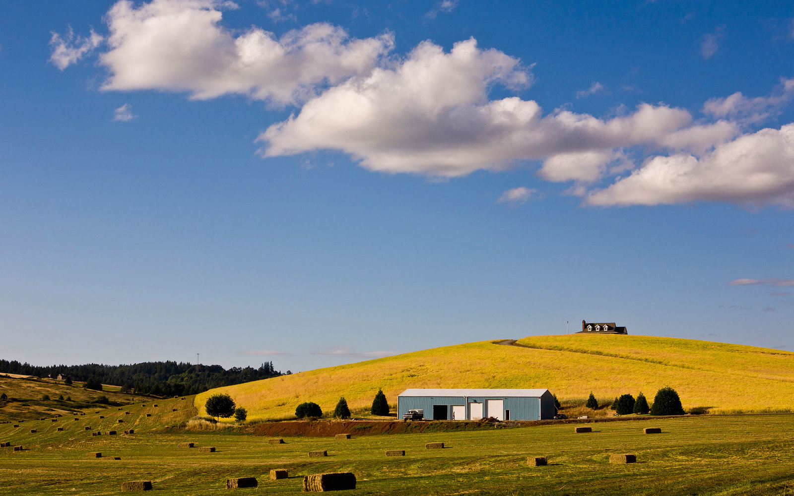 McMINNVILLE, OR - JULY 28:  A rural estate outside Newburg is viewed from the highway on July 28, 2012, near McMinnville, Oregon.  The cities of McMinnville and Newburg, located in the Willamette Valley wine appellation, are the epicenter of Oregon's wine
