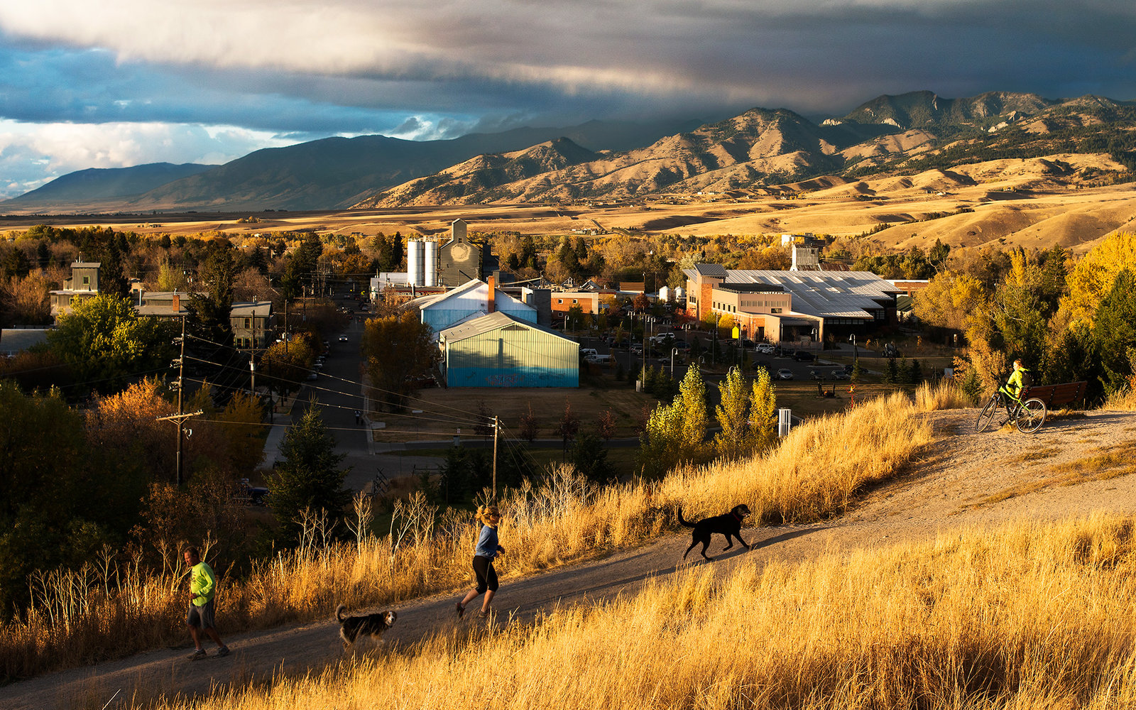 Runners catch last light on Peets Hill near downtown Bozeman.