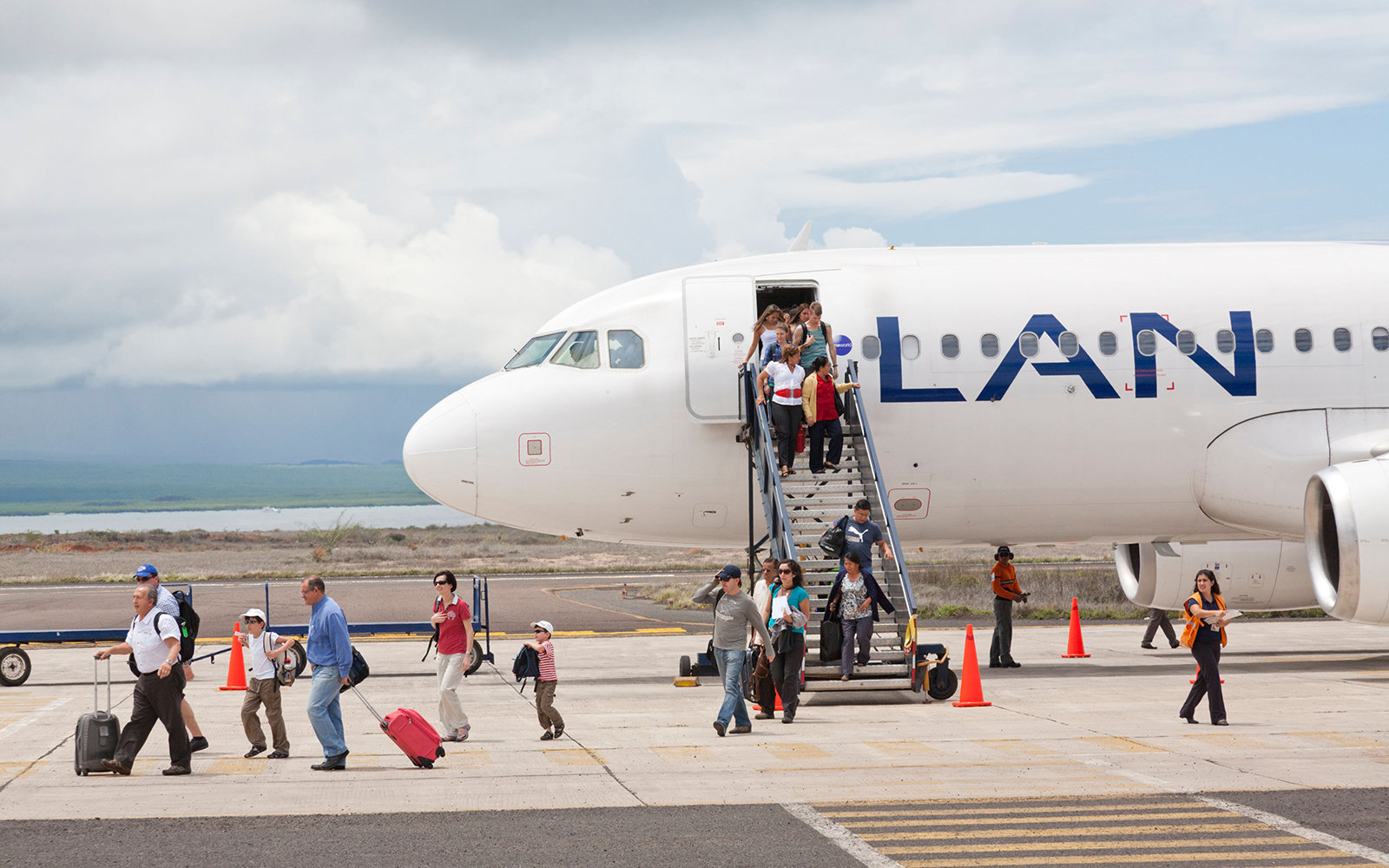 LAN Airplane, Baltra Airport, Baltra Island, Galapagos Islands, Ecuador