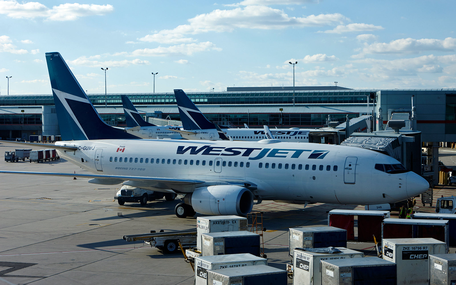 westjet aircraft at terminal 3 toronto pearson international airport Canada