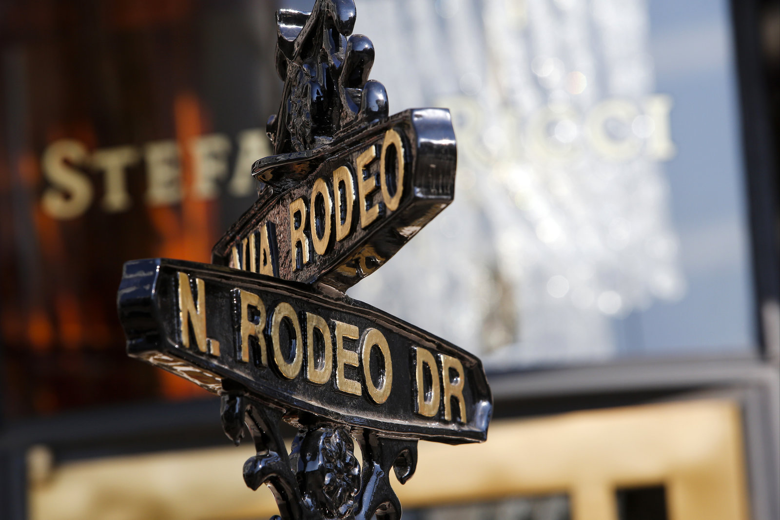 A Rodeo Drive street sign in Beverly Hills, California,