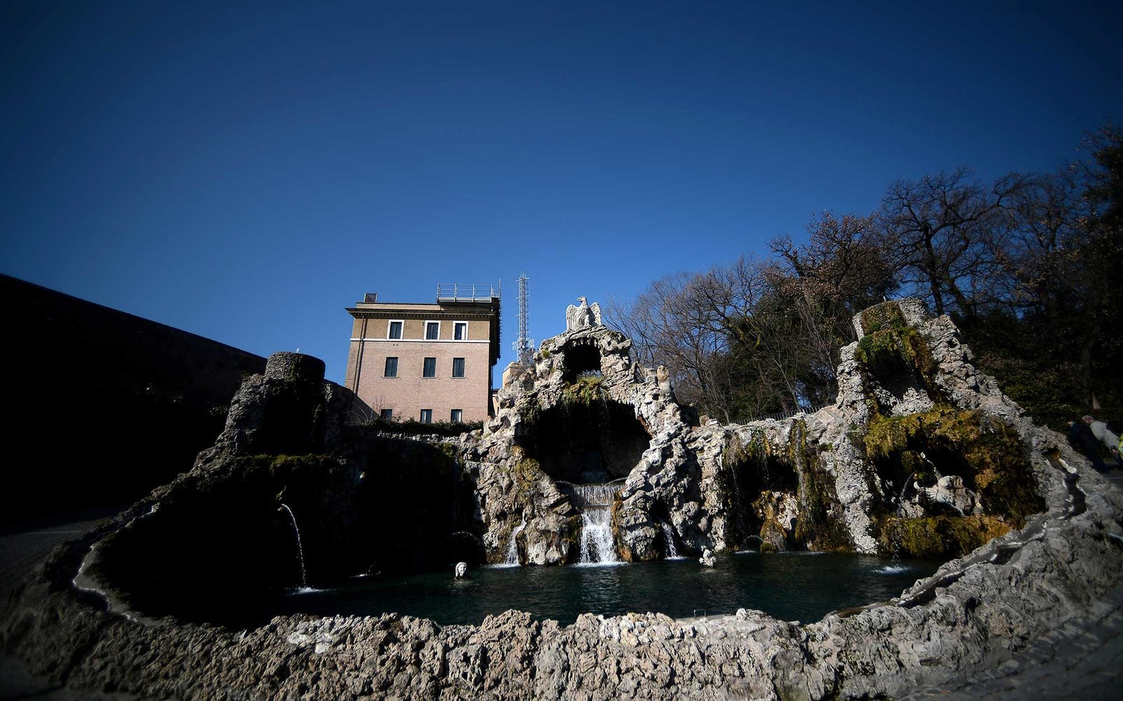 Picture taken on February 19, 2013 shows the Fontana dell'Aquilone in the gardens inside the Vatican City State. Pope Benedict XVI will be hosted in the convent of Mater Ecclesiae (Mother of the Church) offering him a substantial four-story modern home co