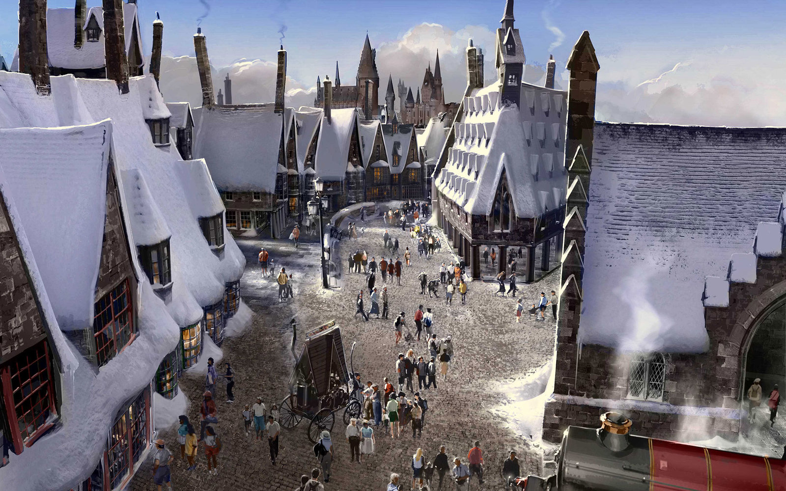 """""""The Wizarding World of Harry Potter"""" at Universal Studios Hollywood - Hogsmeade Village concept rendering"""