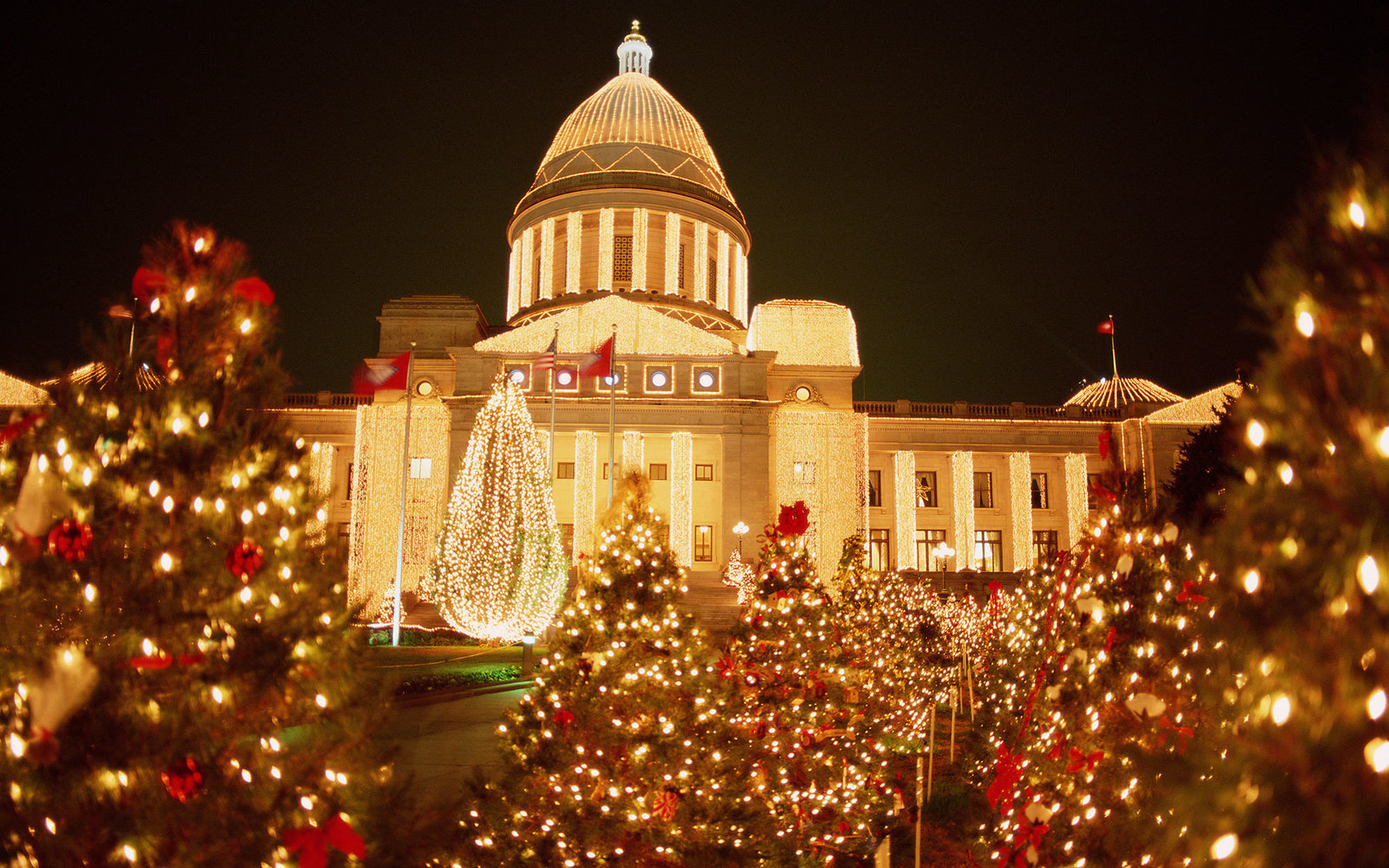 USA Arkansas Little Rock State Capitol Christmas time night & The Best Christmas Light Displays in Every State | Travel + Leisure