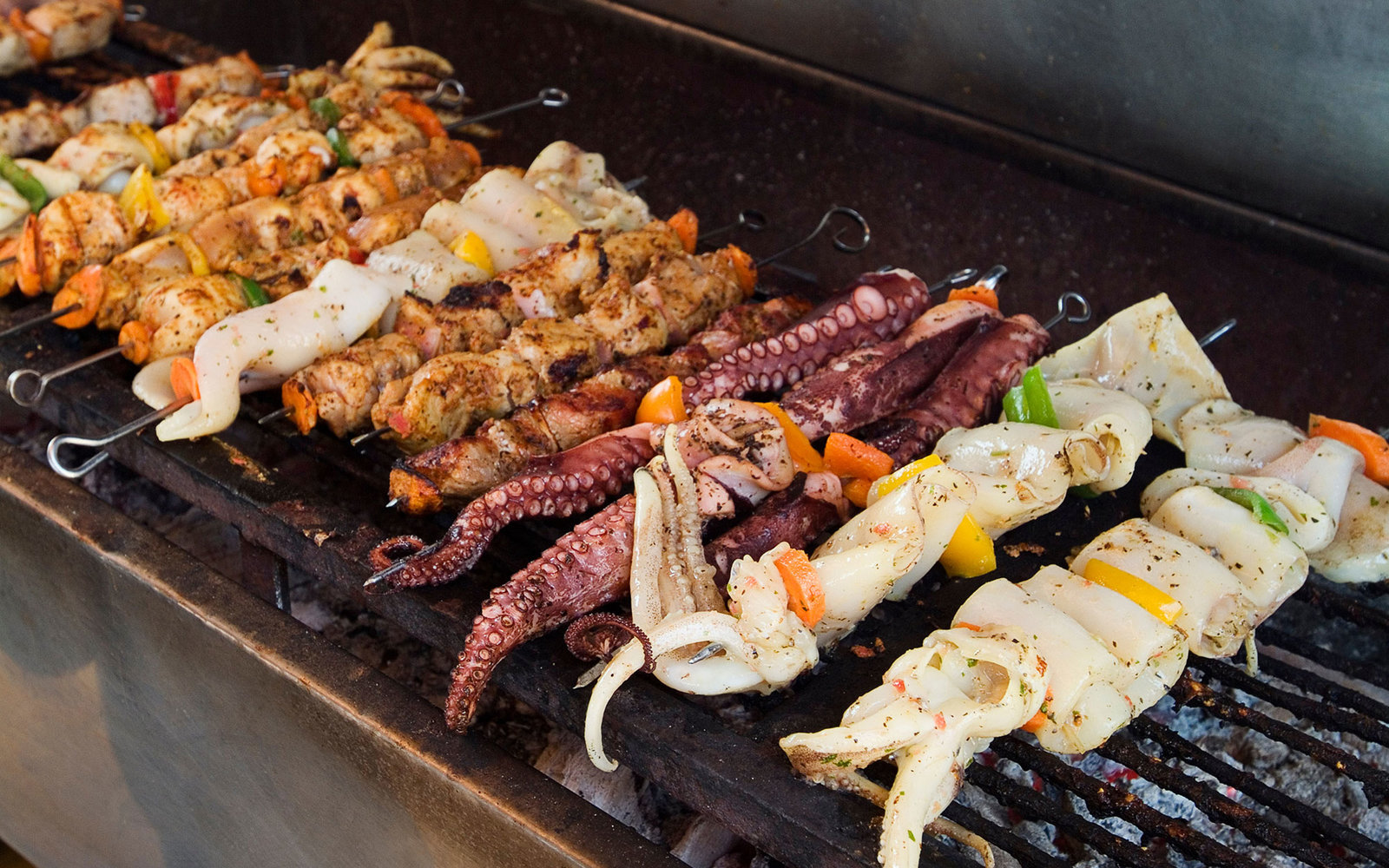 A21EGY Seafood Skewers on Grill, Thirasia, Santorini, Cyclades Islands, Greece
