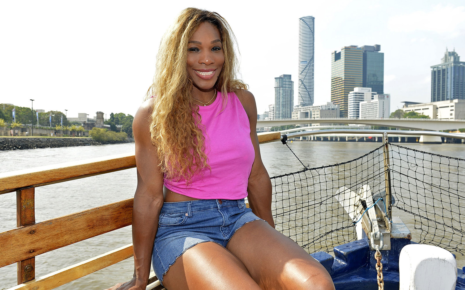 BRISBANE, AUSTRALIA - JANUARY 01: Serena Williams of the USA poses for a photo as she travels down the Brisbane River on a cruise boat during day four of the 2014 Brisbane International at Queensland Tennis Centre on January 1, 2014 in Brisbane, Australia