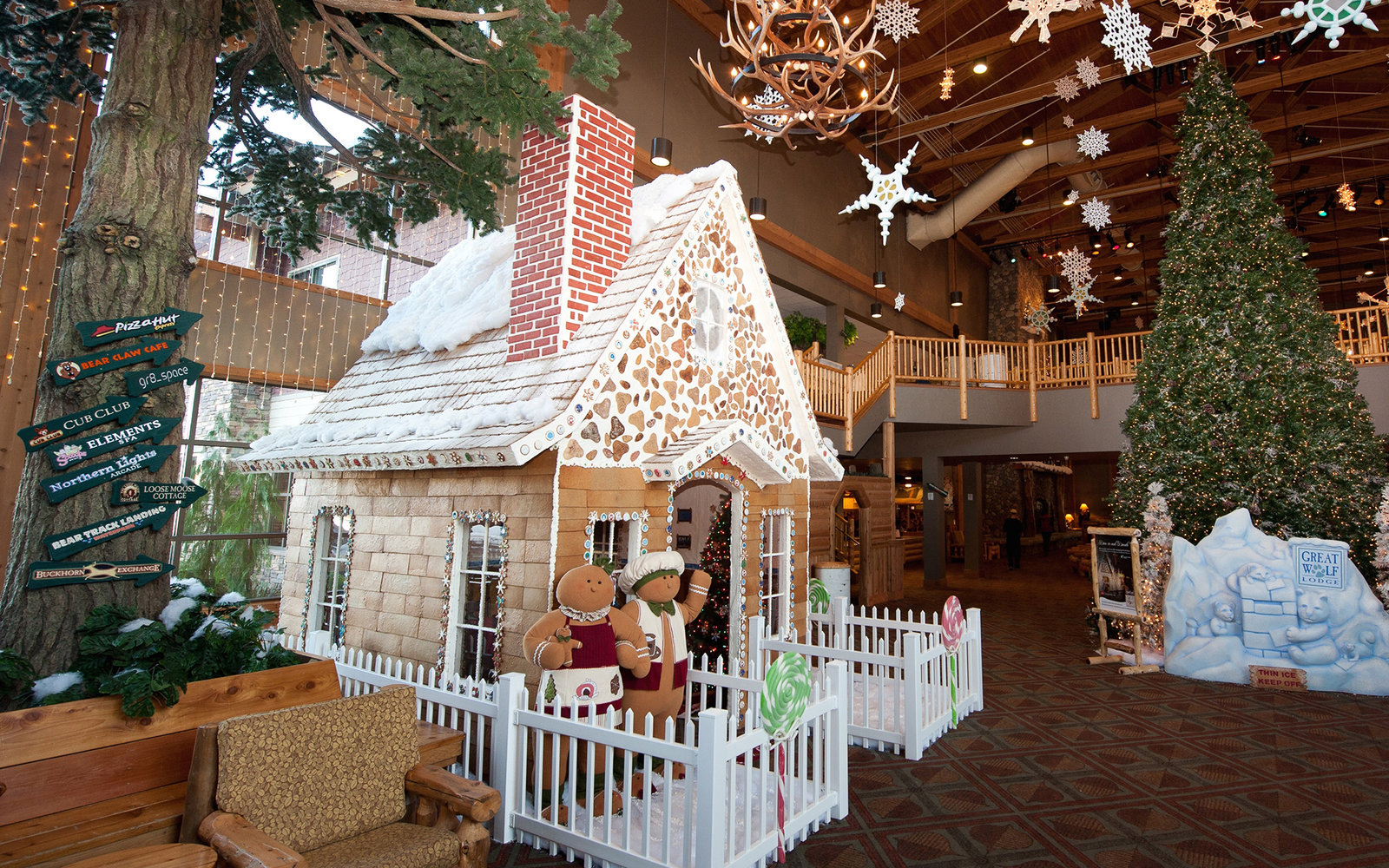 The Snowland Gingerbread House is the centerpiece as the Great Wolf Lodge transforms into a winter wonderland on Wednesday, Nov. 30, 2011 in Grand Mound, Wash. The Snowland Gingerbread House will be available for dining at each Great Wolf Lodge location b