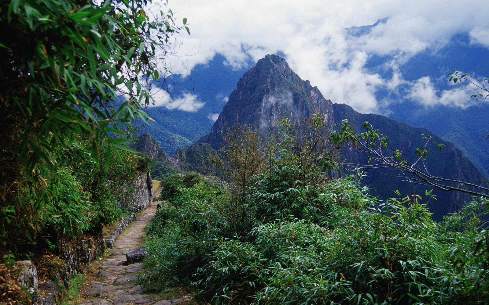 PERU - JULY 01:  Trail to Machu Picchu ruins of Inca citadel in Peru, South America  (Photo by Tim Graham/Getty Images)