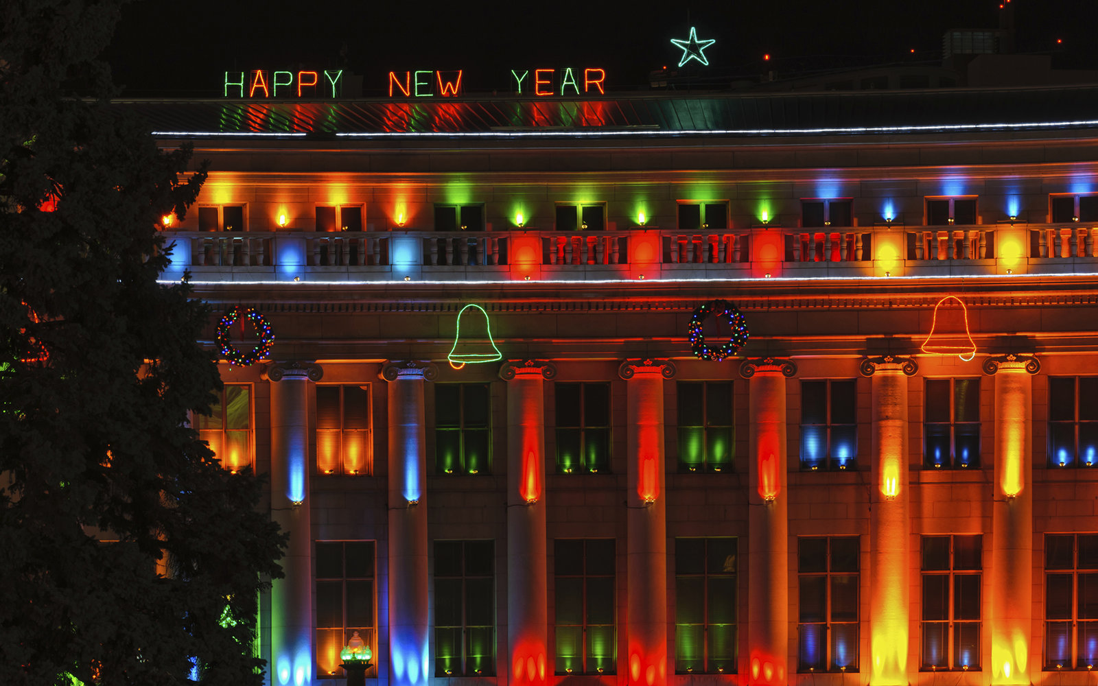 Happy New Year Decorated Building